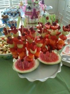Fruit shish kabobs I made for a baby shower!
