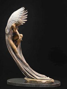Art Sculpture, Bronze Sculpture, Sculpture Ideas, Metal Sculptures, Abstract Sculpture, Arte Fashion, Poses References, Angel Art, The Angel