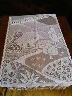 Lace Curtain Cottage Chic French Vintage Country House Scene by FromParisToProvence on Etsy