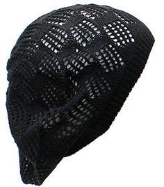 78f16e5edb3 AN- Womens Fashion Lightweight Diamond Pattern Airy Cutout Knit Beret Beanie  Hat