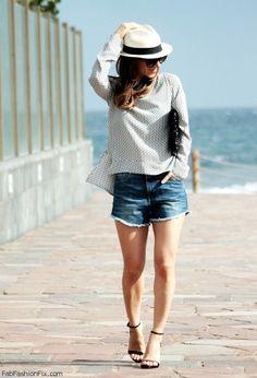 Zara geometric print blouse, denim shorts and strap sandals for chic summer style. #zara #denimshorts