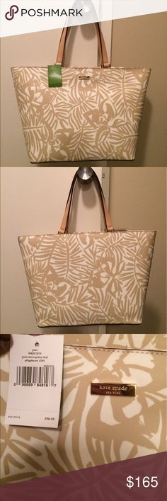 ❤️NWT Kate Spade Tote❤️ NWT Kate Spade Tote! Tan leaf print all over. Tan leather straps. Water repellent grainy vinyl material (not fabric). Inside has zipper compartment and 2 small fabric compartments.  Perfect for summer! Offers are welcome kate spade Bags