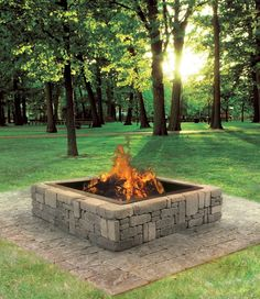 This Rustic Fire Pit makes a great addition to your backyard, cabin or patio! Extend your bonfire season late into fall with this simple DIY project. Constructed from Belgian Blocks, this project is available in a variety of colors and doesn't require any cutting. Perfect for your next #DIYsuccess
