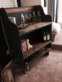 Industrial Bar Cart - Liquor Cabinet. Vintage Industrial. Reclaimed Wood and Steel. on Etsy, $1,050.00