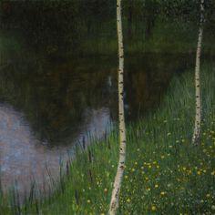 gustav klimt - oil on canvas - seeufer mit birken (lakeshore with birches) (1901)