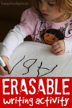 Homemade eraseable writing activity for preschoolers – Make re-usable, erasable work sheets and art activities using plastic page protectors and dry erase markers! Writing Activities For Preschoolers, Spelling Activities, Preschool Activities, Preschool Literacy, Pre Writing, Writing Skills, Writing Ideas, Learning To Write, Kids Learning