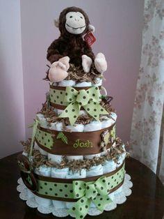 Diaper cake to match Sweet JoJo Designs Monkey Collection