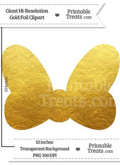 Gold Foil Giant Minnie Mouse Bow Clipart