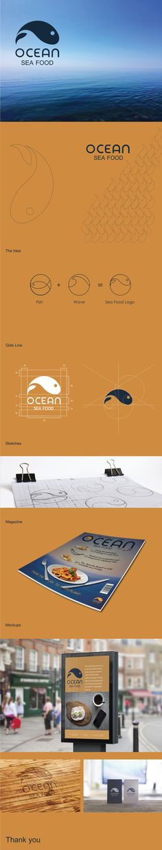Ocean is a logo and identity for a group restaurants, the logo idea taken from the sea wave and shape of a fish                                                                                                                                                                                 Mais