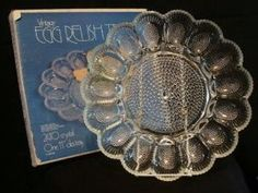 Crystal with Indiana Egg Relish Plate