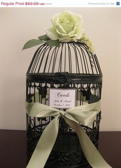 Wedding Card Holder Bird Cage With Green Rose  / Wedding Card Holder Birdcage / Wedding Birdcage  / Decorative Bird Cage / Black Friday Etsy. $55.80, via Etsy.