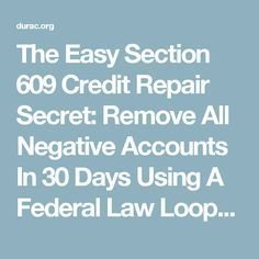 Section  Credit Dispute Letter Sample Credit Repair Secrets