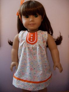 Love the '60s flip!  1960s Summertime Floral Smock for 18 Inch doll / American Girl doll clothes. $18.00, via Etsy. #americangirl #etsy #handmade