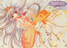 """Chii wearing orange & yellow Rococo dress from """"Chobits"""" series by manga artist group CLAMP."""