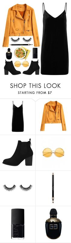 """Night out"" by deeyanago ❤ liked on Polyvore featuring rag & bone/JEAN, Velour Lashes, Clarins, NARS Cosmetics, Alexander McQueen, GetTheLook, NightOut, leatherjacket, ootd and contestentry"