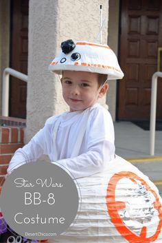 Looking for a homemade BB8 costume? Check out my Star Wars BB-8 costume idea using a paper lantern and duct tape. via @DesertChica