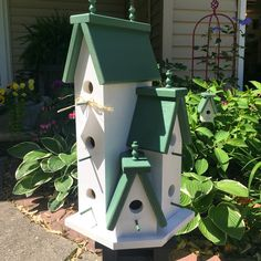 Unique Large Handcrafted Wooden Birdhouse Condo Outdoor Bird House