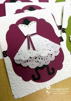 Doily Wedding Dress Cards