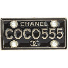 Chanel 17C Black Enamel Coco License Plate Pin Brooch (9,160 MXN) ❤ liked on Polyvore featuring jewelry, brooches, jewelry & watches, no color, other jewelry & watches, preowned jewelry, enamel brooches, enamel jewelry, chanel jewellery and pin brooch