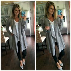 Black leggings, white v-neck tshirt - wear a grey drape-front cardigan &amp Long Sweater Outfits, Cute Comfy Outfits, Casual Outfits, Fall Winter Outfits, Autumn Winter Fashion, Winter Style, Living In Yellow, Yellow Fashion, White V Necks