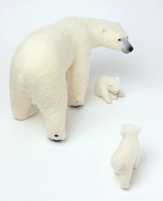 Mother and child wool felt polar bears now have.