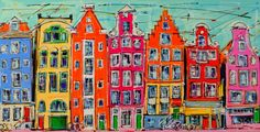 Nu in de #Catawiki veilingen: Mathias -  Typical houses of Amsterdam, color abstract houses