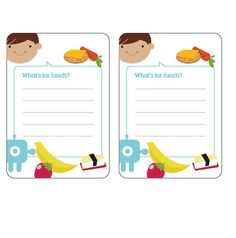 super cute lunch notes + menu for reading practice  (http://www.classic-play.com/wp-content/uploads/2010/05/lunchmenu_boy.pdf)