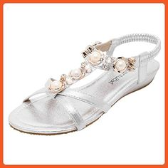 Carolbar women's chic t-strap bungee beaded rhinestone party flats sandals (6.5, Silver) - Sandals for women (*Amazon Partner-Link)