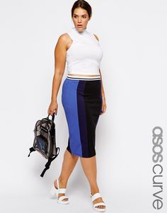 ASOS+CURVE+Exclusive+Pencil+Skirt+With+Contrast+Panels .... I am in love with this skirt!