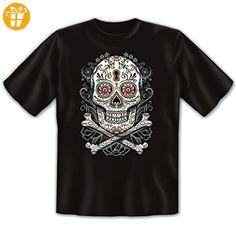 KULT! Motivshirt: Floral skull - Dia de los muertos! Mexiko Größe L Farbe schwarz - T-Shirts mit Spruch | Lustige und coole T-Shirts | Funny T-Shirts (*Partner-Link)