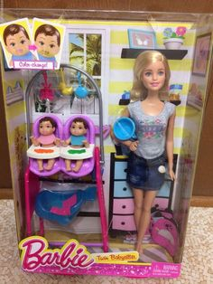 Barbie 2014 Twin Babysitter Baby Sitter Flat Feet Color Change Feed Doll Playset