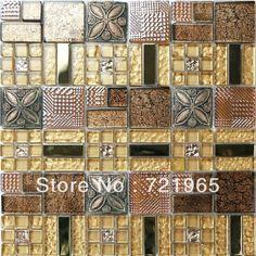 Crystal glass mosaic 3D metal tile backsplash resin mosaic tiles RNMT025 glass tiles bathroom free shipping glass mosaic tiles