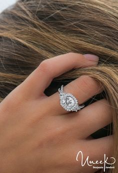 Diamond Wedding Rings : Uneek Fine Jewelry - Three-Stone Engagement Ring with Round Center on Cushion-S. - Buy Me Diamond Stacked Wedding Rings, Wedding Rings Simple, Beautiful Wedding Rings, Wedding Rings For Women, Diamond Wedding Rings, Solitaire Rings, Diamond Rings, Halo Rings, Solitaire Diamond