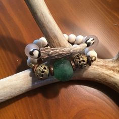 Antler tip bracelet set with cream wooden beads, blush and aqua sea glass, and African brass beads