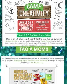 MOMS READ ABOVE  (links to check participating stores and complete details on TomorrowsMom.com . I can't wait for this summer activities! #tomorrowsmom #michaels #blogger #deals #couponcommunity