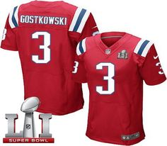 Nike Patriots #3 Stephen Gostkowski Red Alternate Super Bowl LI 51 Men's Stitched NFL Elite Jersey