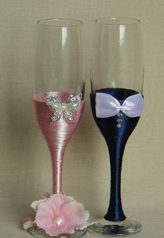 Luxury lace bride and groom wedding glasses