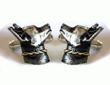 Sterling silver 925 & 14k yellow gold DOG cuff links Hand Made cuffli... Lot 865