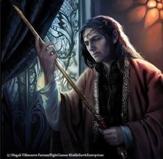 Famous Noldor: Elrond Half-Elven. One of the twin sons of Eärendil and Elwing.  His brother Elros chose a mortal life at the end of the First Age, and became the first King of  Numenor.  Elrond chose to be counted among the Eldar.  He married Celebrian, daughter of Galadriel, and was the father of twins Elladan and Elrohir, and Arwen Undomiel.  He bore Vilya, the Elven Ring of Air and protected the haven of Imadris with its power. Art by Magali Villeneuve.