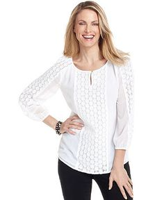 Charter Club Top, Three-Quarter-Sleeve Sheer Embroidered - Tops - Women - Macy's.  $40