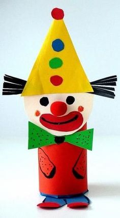 Carnival figures made of toilet paper - Carnival crafts - My grandchildren and I - Made with schwedesign. Kids Crafts, Clown Crafts, Circus Crafts, Carnival Crafts, Crafts For Teens, Diy And Crafts, Arts And Crafts, Toilet Roll Craft, Toilet Paper Roll Crafts