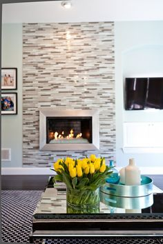 images about Fireplace on Pinterest Glass tiles