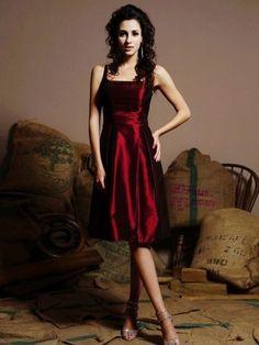 A-line Square Ruffles Sleeveless Tea-length Taffeta Bridesmaid Dresses / Cocktail Dresses / Homecoming Dresses