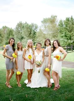 natural colored bridesmaids dresses mixed. love this wedding, simple. outdoors. lovely
