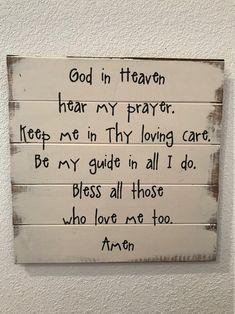 God in Heaven Bedtime Prayer Childrens Sign Boys Sign Girl | Etsy