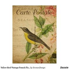 Yellow Bird Vintage French Floral Flowers Postcard Vintage Birds, Vintage Flowers, Floral Flowers, Vintage Postcards, Vintage Images, French Vintage, Vintage Style, Vintage Inspired, Black Animals