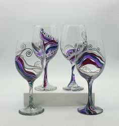 Stained Glass Abstract Effect Hand Painted Wine Glass Set of 2