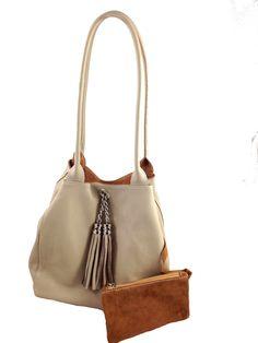 Lyn, Reversible Italian leather handbag. light taupe leather/cognac suede