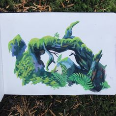 Painting of an overgrown stump while climbing yesterday 🌱 Sketchbook Inspiration, Art Sketchbook, Art And Illustration, Gouache Painting, Painting & Drawing, Pretty Art, Cute Art, Posca Art, Paludarium