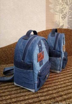 2018 New Denim Jeans Backpack Soft Outdoors Unisex School Bag Student Blue Gray Mochila Jeans, Jean Diy, Jean Backpack, Backpack Pattern, Backpack Tutorial, Denim Crafts, Recycle Jeans, Denim Bag, Denim Jeans